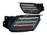 Задние тюнинг фонари в бампер Toyota Land Cruiser Prado 150 2009+ светодиодные, тонированные