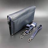 Повсякденний шкіряний чоловічий клатч синій модна міні сумочка з натуральної шкіри чоловічий клатч для документів, фото 3
