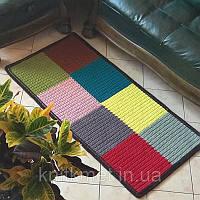 Авторский разноцветный ковер дорожка ручная работа,трикотажная пряжа хлопок 100%,дизайнерский ковер для кухни