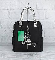 Рюкзак сумка городской текстильный черный с серебрянными ручками рептилия 1721