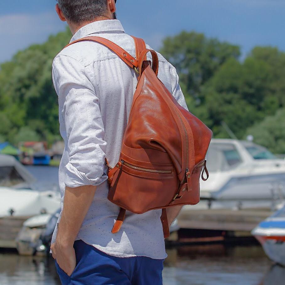 """Рюкзак мужской из комбинированной натуральной кожи оригинального дизайна """"Denver"""""""