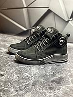 Чёрные кожаные зимние ботинки мужские UGG   натуральная плотная кожа + натуральная шерсть + ТПУ
