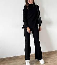 Жіночий костюм Bilichka в рубчик з вирізом під горло Чорний