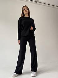 Жіночий костюм Bilichka в рубчик з круглою горловиною Чорний