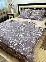 Постельное белье бязь GOLD Пакистан. КПБ 1 5 полуторный, евро, семейный, двуспальный серое LOVE