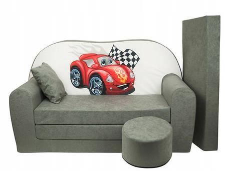 Детский диван, детский раскладной диван + пуф +дополнительный матрас + подушка, Машинка, фото 2