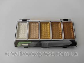 Набір акварелі МЕТАЛІК 5 кольорів з брашпеном, розмір 7см*14см*1,5 см