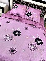 Постельное белье бязь GOLD Пакистан. КПБ 1 5 полуторный, евро, семейный, двуспальный фиолетовое с цветами