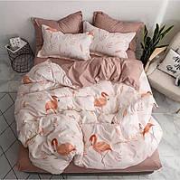 Постельное белье бязь GOLD Пакистан. КПБ 1 5 полуторный, евро, семейный, двуспальный белое с фламинго