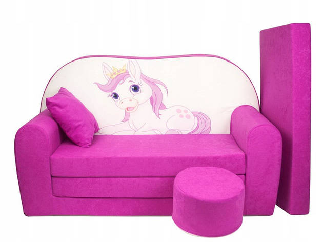 Дитячий диван, дитячий розкладний диван 100х170см + пуф +додатковий матрац + подушка, Рожеве поні, фото 2