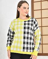 Яскравий кольоровий светр OVERSIZE з геометричним принтом, фото 1