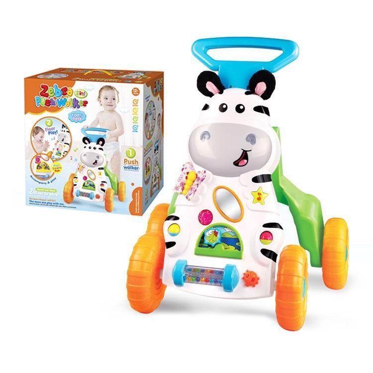 """Дитячі розвиваючі музичні ходунки-каталка """"Push Walker"""", """"Зебра"""",для перших кроків малюка"""