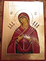 Иконы в деревянном киоте. Икона писаная Семистрельная Божья Матерь (Умягчение злых сердец) 33х23х3см, фото 1