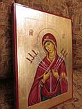 Иконы в деревянном киоте. Икона писаная Семистрельная Божья Матерь (Умягчение злых сердец) 33х23х3см, фото 2