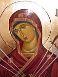 Иконы в деревянном киоте. Икона писаная Семистрельная Божья Матерь (Умягчение злых сердец) 33х23х3см, фото 3