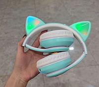 Беспроводные наушники с кошачьими ушками Cat Ear VZV-23 M С подсветкой Бирюзовые