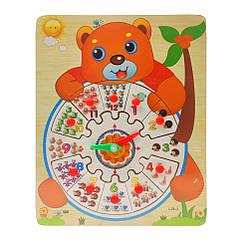 Деревянная игрушка Часы Bambi MD 2036 (Медвежонок)