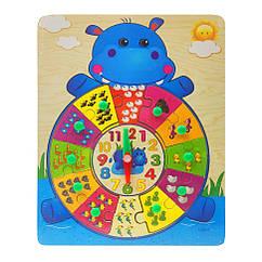 Деревянная игрушка Часы Bambi MD 2036 (Бегемот)