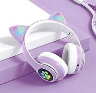 Беспроводные наушники с кошачьими ушками Cat Ear VZV-23 M С подсветкой Фиолетовые