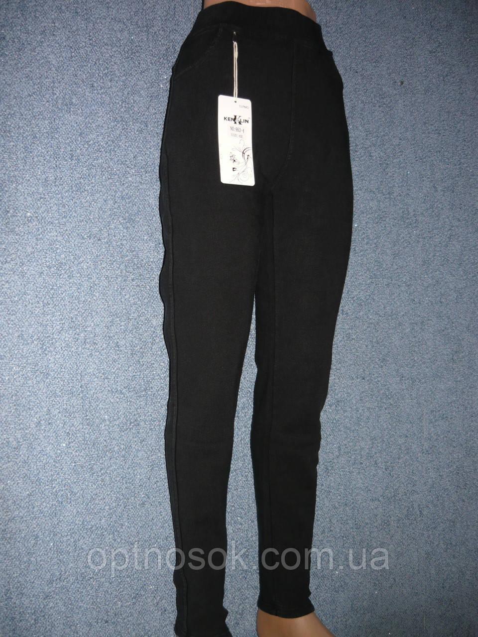 """Штаны женские джинсовые """"Kenalin"""" с  карманами на меху. р. 5XL. Черные"""