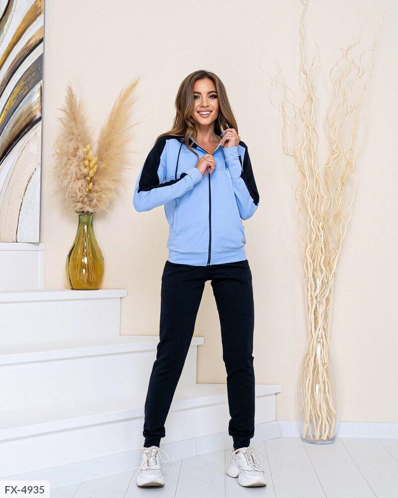Стильний спортивний костюм штани і двоколірна кофта на блискавці з двуніткі Розмір: 42-44, 46-48 арт. 819