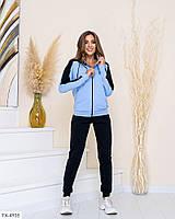 Стильний спортивний костюм штани і двоколірна кофта на блискавці з двуніткі Розмір: 42-44, 46-48 арт. 819, фото 1