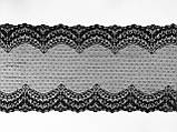 Стрейчевое (еластичне) мереживо чорного кольору шириною 22 див., фото 5