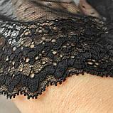 Стрейчевое (еластичне) мереживо чорного кольору шириною 22 див., фото 4