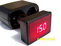 Вольтметр автомобильный цифровой 12В 24В красный в прикуриватель АПрИ, фото 1