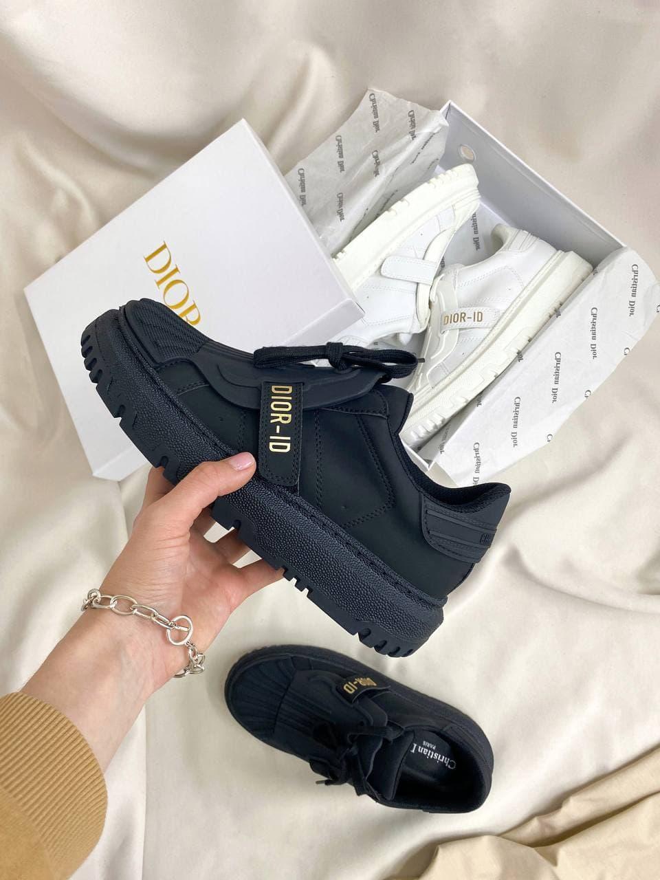 Женские кроссовки Dior-ID Black (черные) DI013 качественные шикарные кеды для девушек