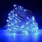 Гірлянда нитка світлодіодна Краплі Роси 20 LED, Синя (Блакитна), дріт, на батарейках, 2м., фото 7