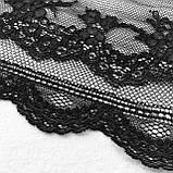 Стрейчевое (еластичне) мереживо чорного кольору шириною 20,5 див., фото 3