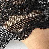 Стрейчевое (еластичне) мереживо чорного кольору шириною 20,5 див., фото 5