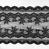 Стрейчевое (еластичне) мереживо чорного кольору шириною 20,5 див., фото 2