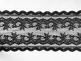 Стрейчевое (еластичне) мереживо чорного кольору шириною 20,5 див., фото 4