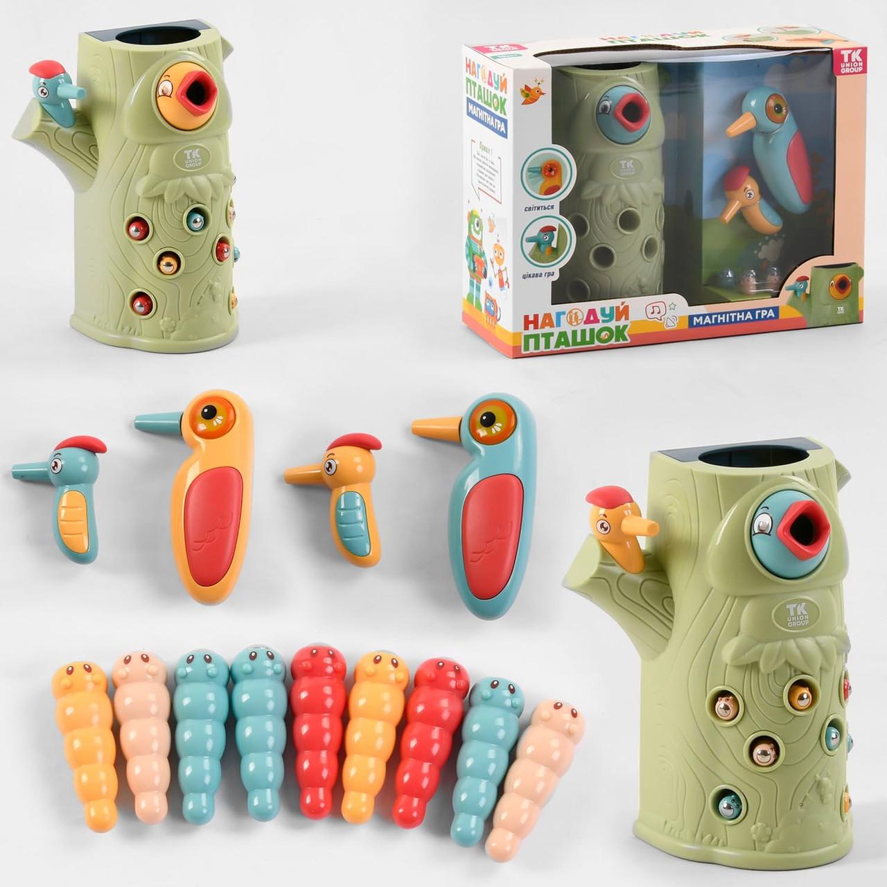 """Магнитная игра 80395 """"Нагодуй пташок"""", """"TK Group"""", 9 червячков, птички с магнитным клювиком, 1 птичка"""