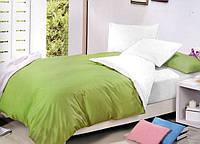 Комплект Двухстороннего постельного белья Салатовый + Белый