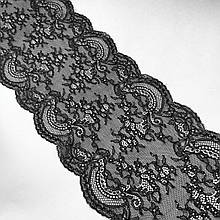 Стрейчевое (еластичне) мереживо чорного кольору шириною 20 див