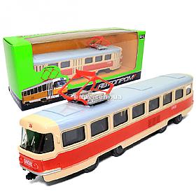 Машинка игровая Трамвай «Автопром» металлическая моделька 16*6*3 см (6411A)