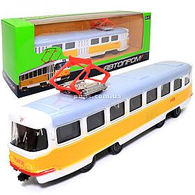 Машинка игровая Трамвай «Автопром» металлическая моделька 16*6*3 см (6411B)