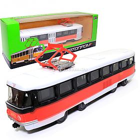 Машинка игровая Трамвай «Автопром» металлическая моделька 16*6*3 см (6411D)