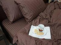 Полуторні комплекти з страйп-сатину (коричневий )