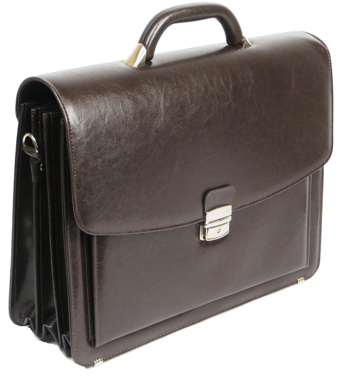 Большой мужской портфель из кожзаменителя Jurom 0-36-112