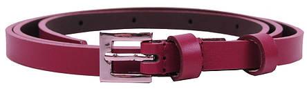 Узкий женский кожаный ремень, поясок 1 см Rovicky бордовый, фото 2