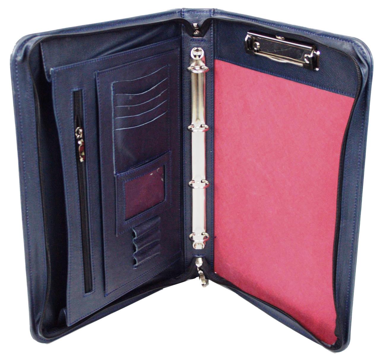 Мужская кожаная деловая папка Portfolio Port1005 синяя