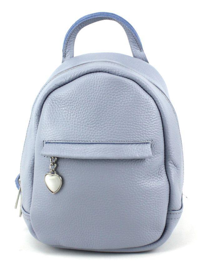 Небольшой кожаный рюкзак женский Borsacomoda 3 л голубой