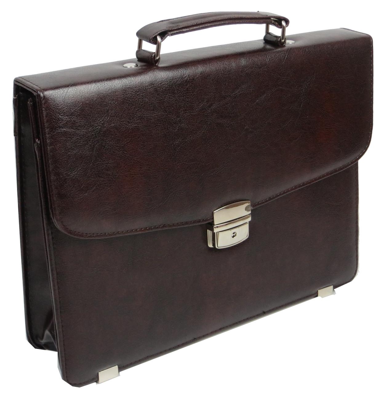 Небольшой мужской портфель из эко кожи Exclusive, Украина коричневый