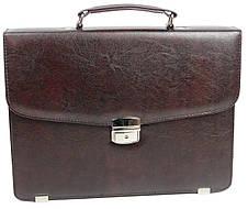 Небольшой мужской портфель из эко кожи Exclusive, Украина коричневый, фото 2
