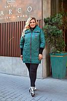 Р. 56-58 Женская демисезонная куртка больших размеров с воротником-стойкой