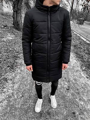 Зимняя мужская куртка длинная с капюшоном теплая черного цвета